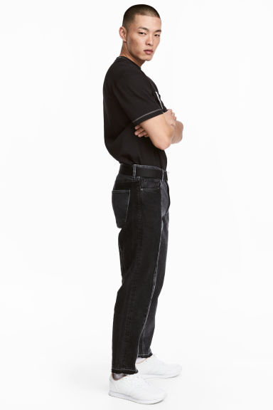 Cropped Jeans - Nero Washed out - UOMO | H&M IT