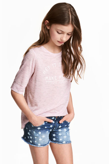 Printed T-shirt - Light purple marl - Kids | H&M CN 1