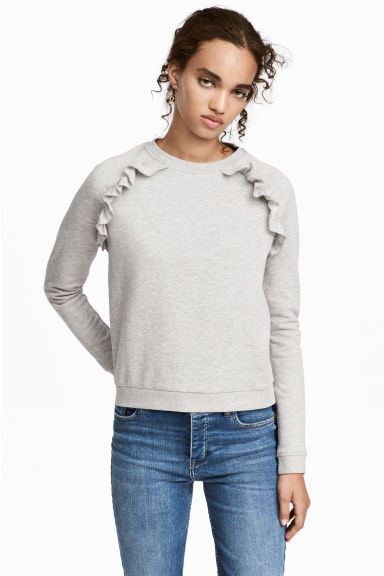 Sweatshirt with frills - Grey marl - Ladies | H&M CN