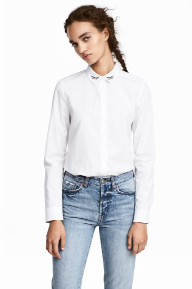 Cotton poplin blouse - White - Ladies | H&M 1
