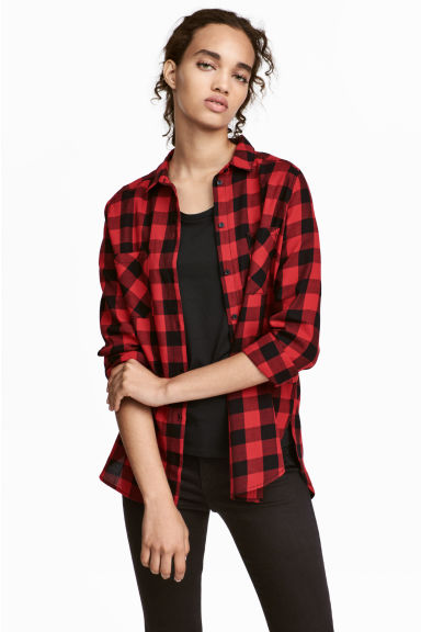 Cotton shirt - Red/Checked - Ladies | H&M CN 1