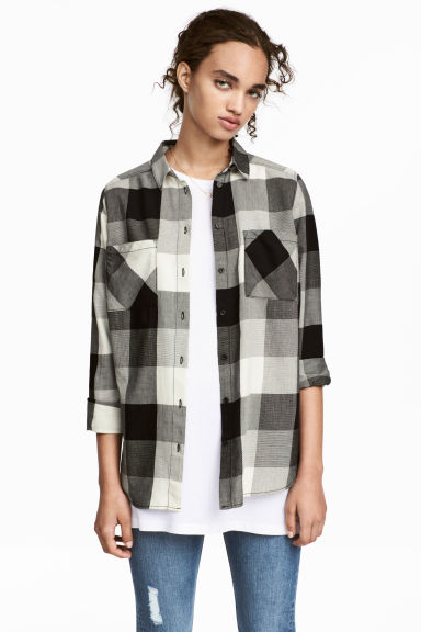 Cotton shirt - Black/White/Checked - Ladies | H&M CA 1