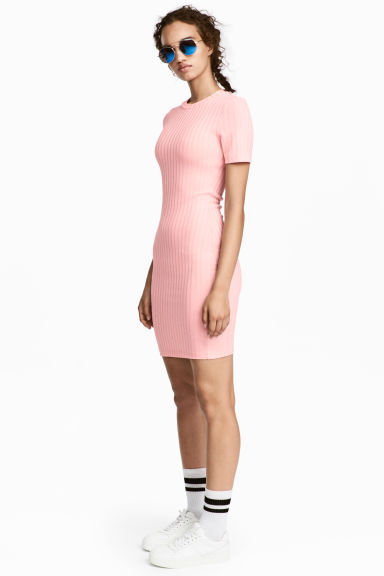 Ribbed jersey dress - Light pink - Ladies | H&M CN 1