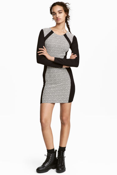 Fitted jersey dress - Black/White - Ladies | H&M 1