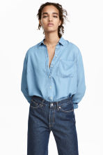 Lyocell shirt - Blue/Chambray - Ladies | H&M CN 1