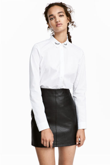Short skirt - Black/Imitation leather -  | H&M CN 1