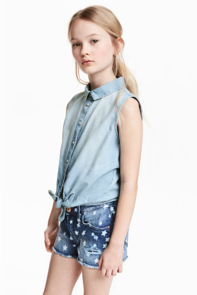 Sleeveless denim shirt - Light denim blue - Kids | H&M CN 1