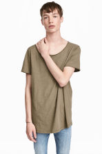 Raw-edge T-shirt - Khaki beige - Men | H&M CN 1