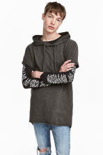 Hooded T-shirt - Dark grey marl - Men | H&M 1