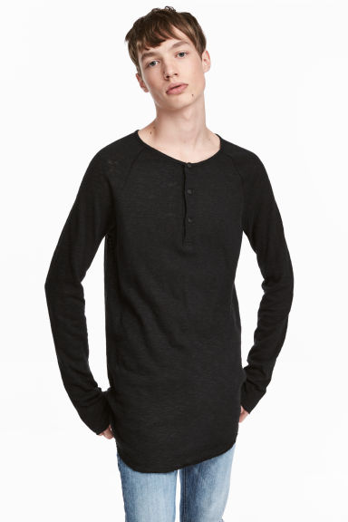 Fine-knit Henley shirt - Black - Men | H&M 1