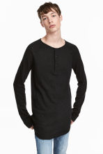 Fine-knit Henley shirt - Black - Men | H&M CN 1