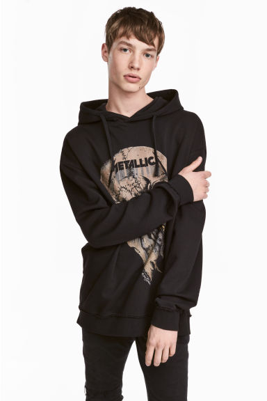 Printed hooded top - Black/Metallica - Men | H&M 1