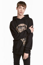 Printed hooded top - Black/Metallica - Men | H&M CN 1