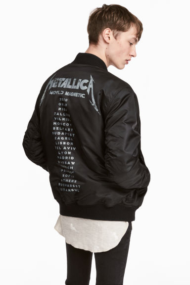 Printed bomber jacket - Black/Metallica - Men | H&M 1