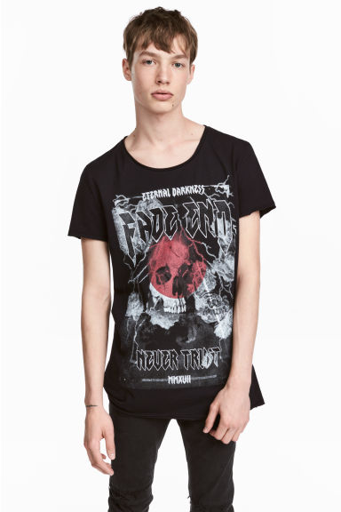 T-shirt stampata - Nero/teschio - UOMO | H&M IT