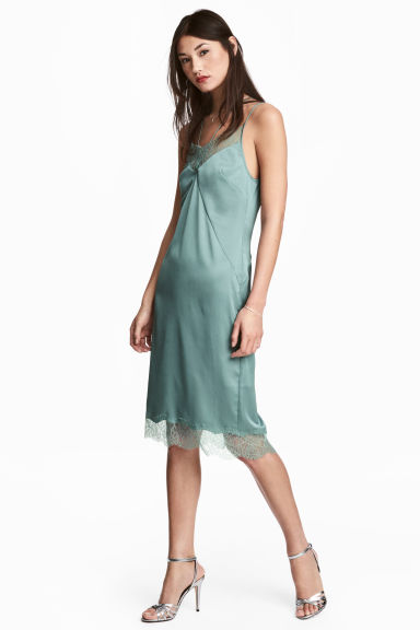 Satin slip dress - Dusky green - Ladies | H&M CA