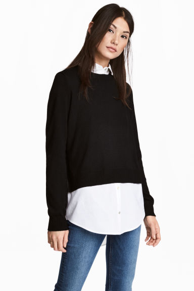 Jumper with a shirt collar - Black/White - Ladies | H&M GB 1