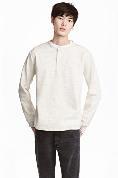 Henley shirt - Light grey marl - Men | H&M 1