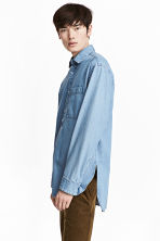 Long denim shirt - Light denim blue -  | H&M CN 1