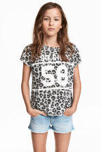 Short-sleeved printed top - Grey/Leopard print - Kids | H&M CN 1