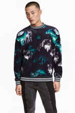 Velour sweatshirt - Black/Wolves - Men | H&M 1
