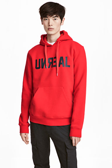 Hooded top - Red/Text -  | H&M 1