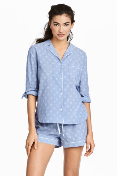 Pyjama shirt and shorts - Chambray/Patterned - Ladies | H&M GB 1