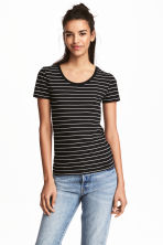Jersey top - Black/White/Striped - Ladies | H&M CN 1