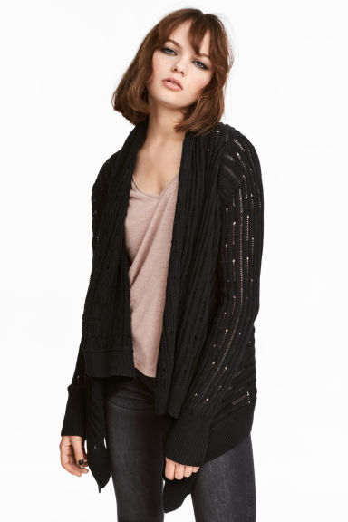 Hole-patterned cardigan - Black - Ladies | H&M CN 1