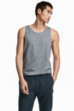 Cotton jersey vest top - Dark blue/Narrow striped - Men | H&M 1