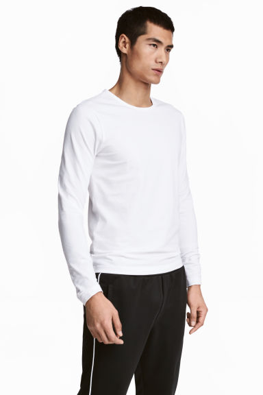 貼身長袖T恤 - White - Men | H&M 1