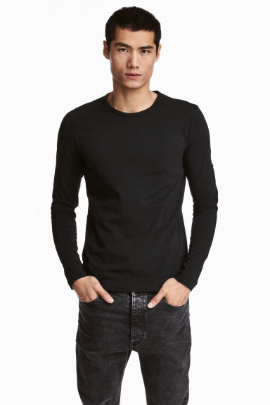Long-sleeved T-shirt Slim fit - Black - Men | H&M CN 1