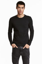 Long-sleeved T-shirt Slim fit - Black - Men | H&M 1