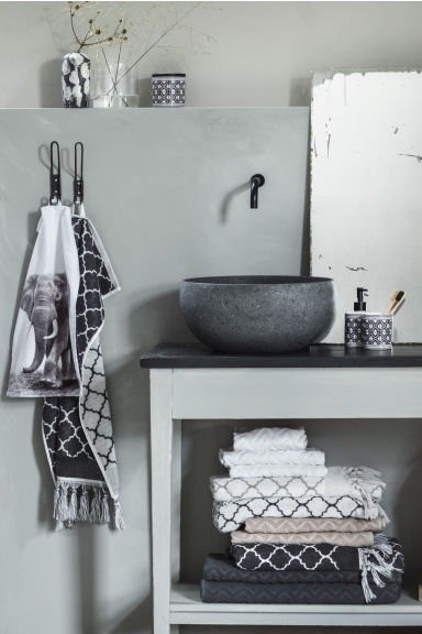 Jacquard-weave hand towel - Anthracite grey - Home All | H&M CN
