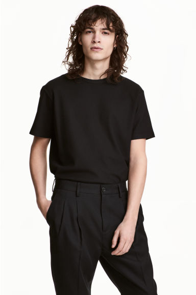 Cotton piqué T-shirt - Black -  | H&M 1