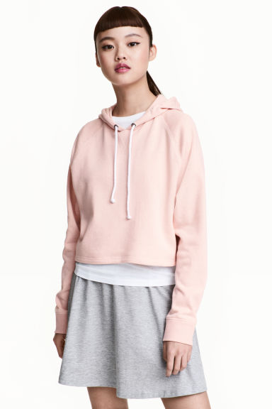 短版連帽上衣 - Powder pink - Ladies | H&M 1