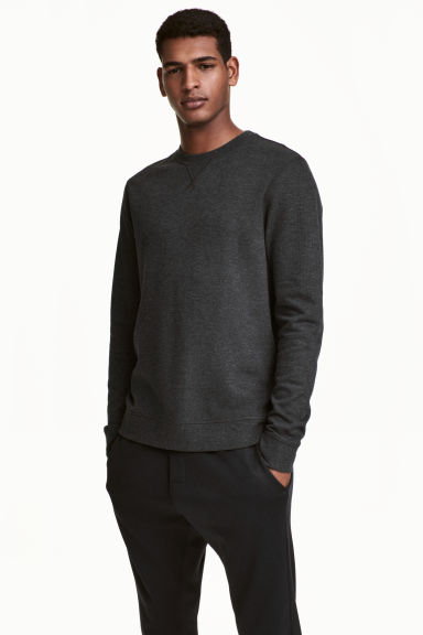 Sweat en jersey - Gris anthracite chiné - HOMME | H&M FR 1