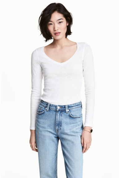 Slub jersey top - White marl - Ladies | H&M CA