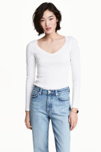 Slub jersey top - White marl - Ladies | H&M 1