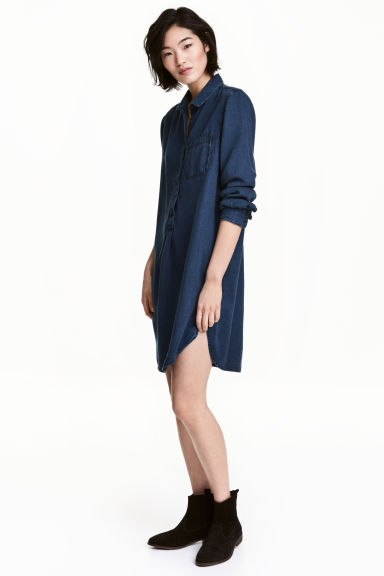 Lyocell tunic - Dark denim blue - Ladies | H&M