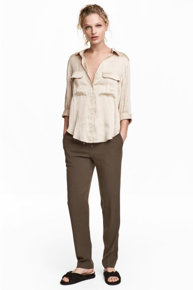 Pull-on trousers - Dark Khaki - Ladies | H&M CN 1
