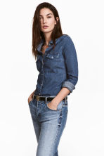 Fitted denim shirt - Denim blue - Ladies | H&M CN 1