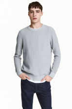 Textured cotton jumper - Light grey - Men | H&M 1