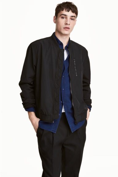 Nylon-blend bomber jacket - Black - Men | H&M