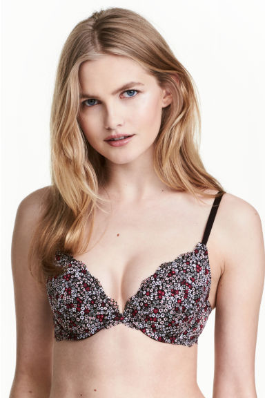 Lace push-up bra - Black/Small floral - Ladies | H&M CN 1