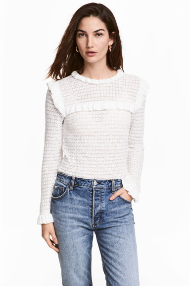 Textured-knit jumper - White - Ladies | H&M GB 1