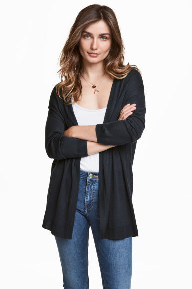 Fine-knit cardigan - Dark blue - Ladies | H&M CN 1