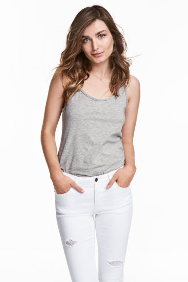 Jersey vest top - Grey marl - Ladies | H&M 1