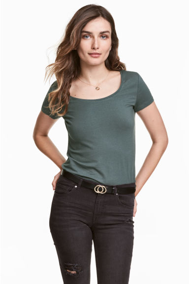 Jersey top - Dark green -  | H&M CN