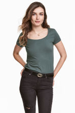 Jersey top - Dark green - Ladies | H&M 1